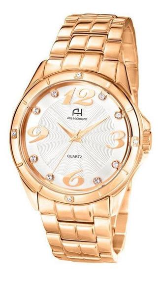 Relógio Pulso Ana Hickmann Feminino Ah28606 Dourado