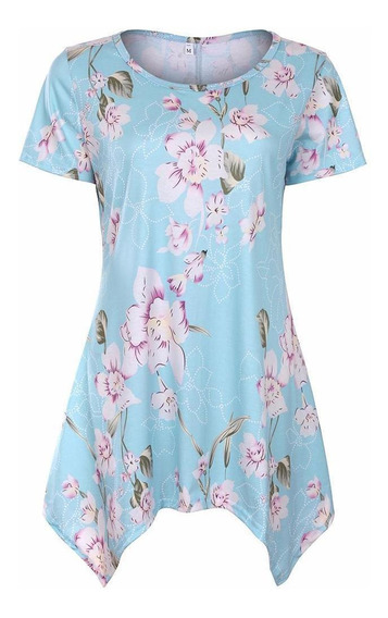 Camiseta Feminina Casual O-neck Manga Curta Floral Irregular