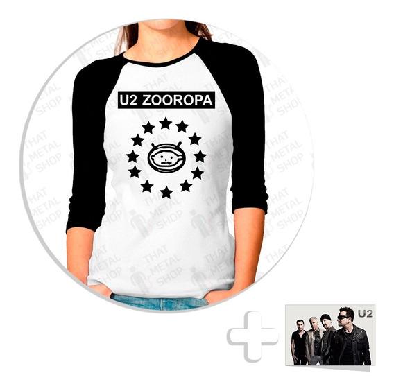 Envío Gratis Playera Raglan Dama U2 Zooropa + Sticker
