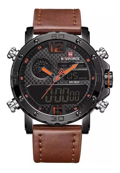 Relógio Naviforce Couro Masculino Militar Esportivo