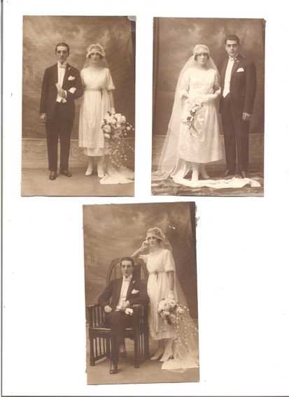 Lote De 3 Foto Postales Antiguas De Casamiento Vestido Novio