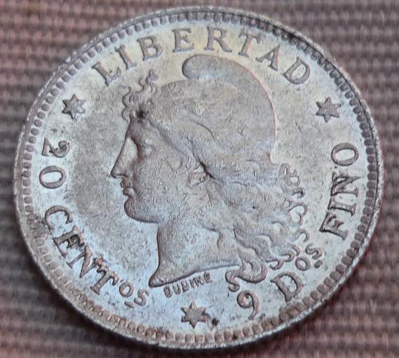 Argentina 20 Centavos 1883 Plata Cj#20.6-3/3 Sin Circ.(-)