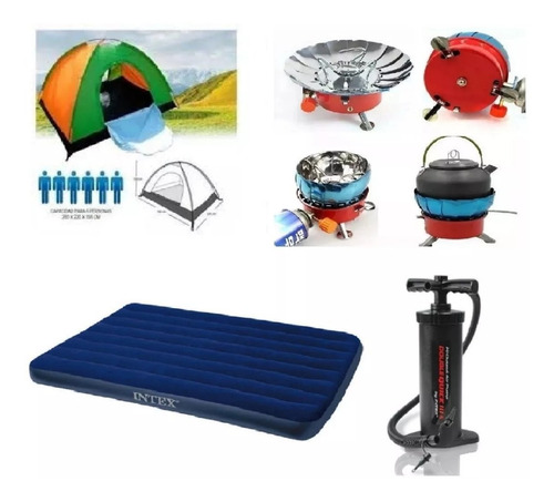 Combo Carpa Camping 6per+colchón Dob+bomba+estufa Gas