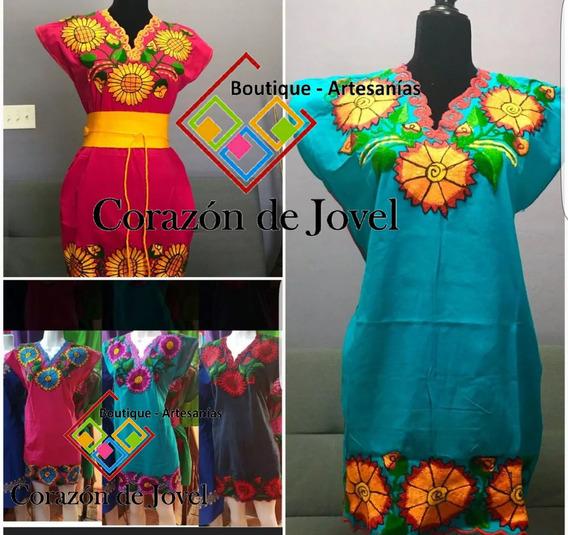 Lote/set De 6 Vestidos De Manta Bordados Artesanales Chiapas