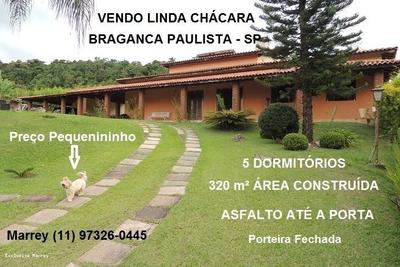 Sítio / Chácara Para Venda Em Bragança Paulista, Linda Chácara, 5 Dormitórios, Porteira Fechada, 320 M² Ac Térrea, 5 Dormitórios, 2 Suítes, 4 Banheiros, 7 Vagas - 3039