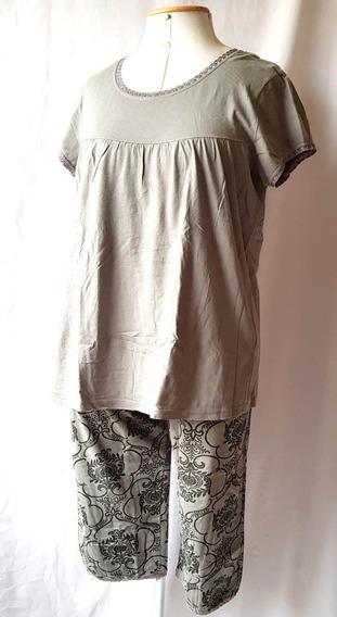 Pijama Bonprix Em Algodão Pantacourt Estampada E Blusinha Gg