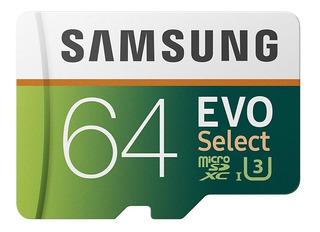 Samsung Evo Select 64gb 4k 100mb/s Memoria Micro Sd Microsd