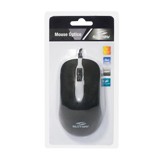 Mouse Sumay Sm-mo1301 C/fio Optico Preto Usb