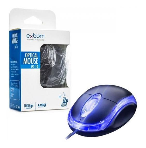 Kit 10 Mouse Usb Com Fio 1000dpi Exbom Novo Na Caixa Atacado