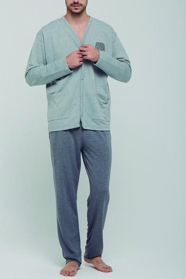 Pijama Hombre Manga Larga Pantalón Largo Algodón Ocio G 2119