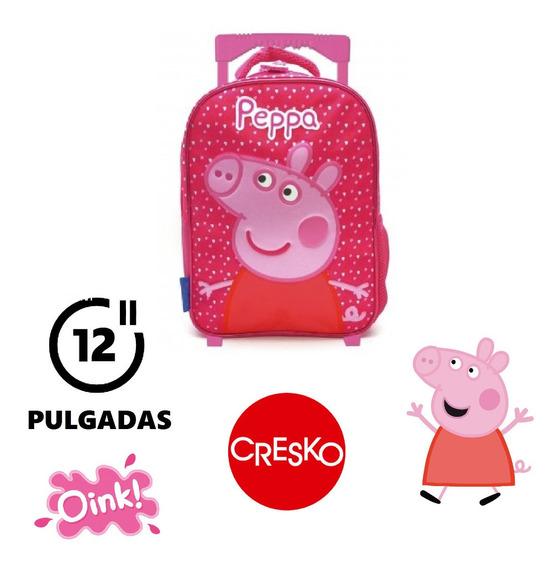 Mochila Peppa Pig 12 Pulgadas Carrito - Cresko - Diseño 2020
