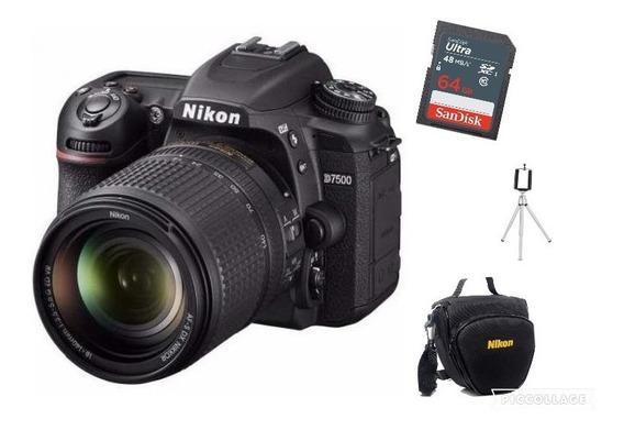 Nikon D7500 Lente 18-140mm Vr +bolsa+tripé+cartão 64gb C/ Nf