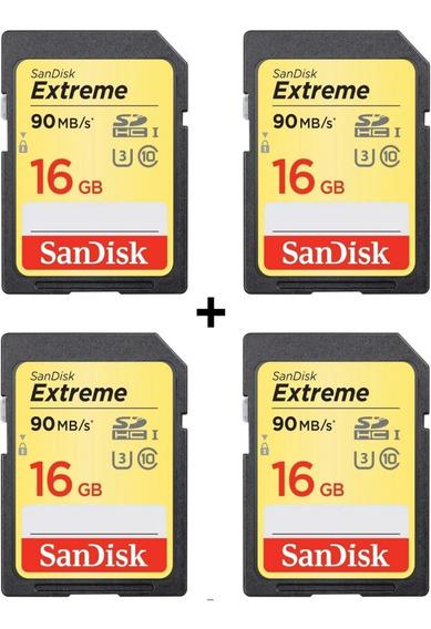 4x Cartão Sd Sdhc Sandisk Extreme 16gb 90mbs