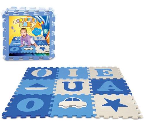 Imagem 1 de 2 de Tapete Infantil Eva Vogais Menino Azul 9 Placas Brinquedo