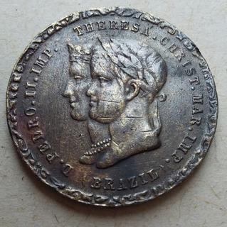 1843 Dom Pedro I I Brazil Império Bodas C/ Thereza Christina