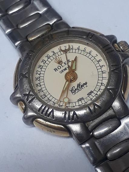 Relógio Rolex Cellini Geneve Quartz Antigo Calendario Femini