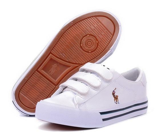 Tenis Polo Ralph Lauren Unisex Escolar Tipo Vinipiel Blanco