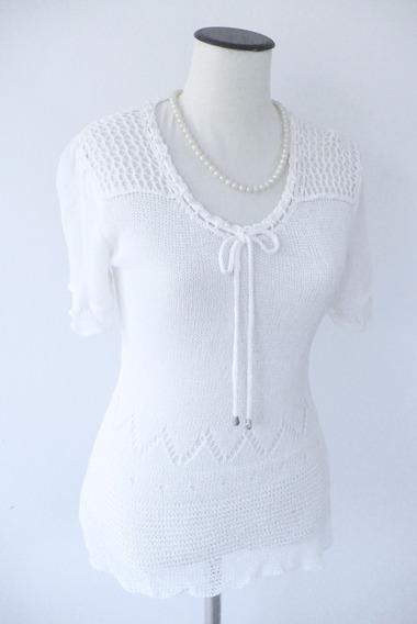 Remera Hilo Tejida Blanca Vintage Perlas