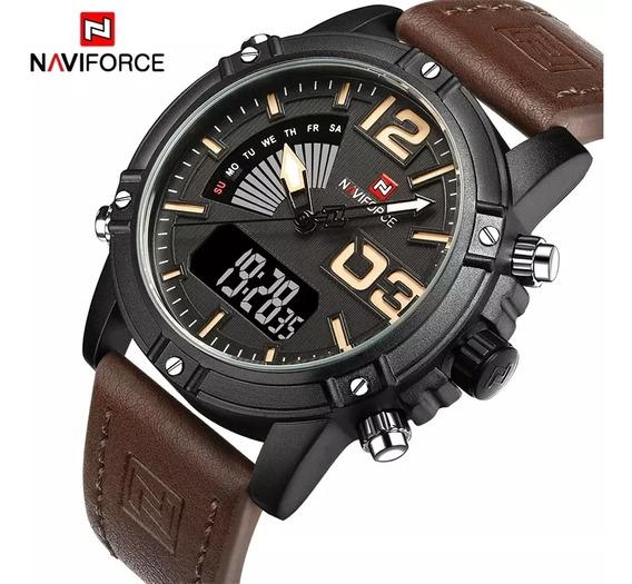 Naviforce Relógio Masculino Pulseira De Couro