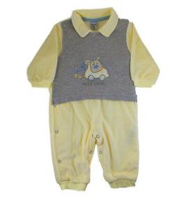 Macacão Para Bebê Longo Em Plush Amarelo E Cinza Para Menino