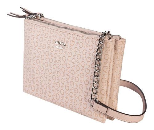 Imagen 1 de 7 de Bolsa Guess Kalei Mini Dbl Zip Crossbody En Color Rosa Claro