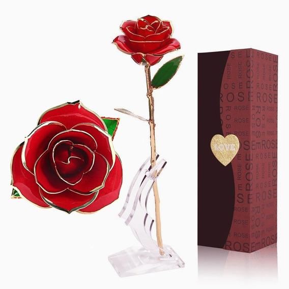 Rosa Natural Baño Oro 24k Y Base El Mejor Regalo Amor