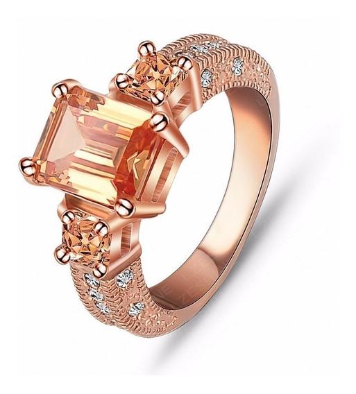 Anel Solitário Bronze Banhado Ouro Rose E Prata 925 Zircônia