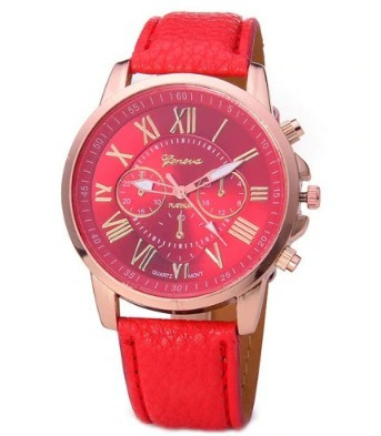 Lindo Relógio Feminino Analógico Quartz - Cor Vermelho