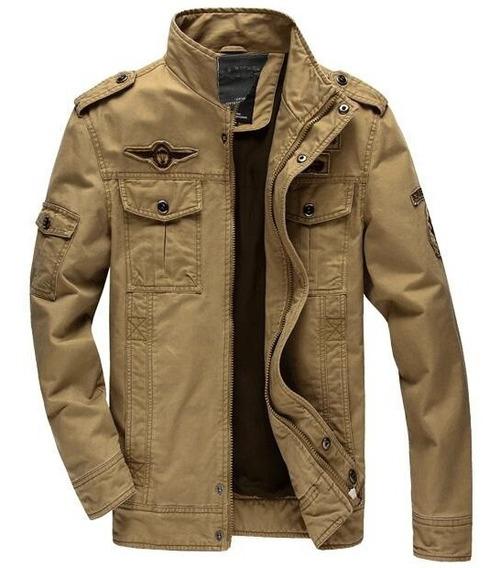 Jaqueta Masculina Jeans Forrada Militar Á Pronta Entrega