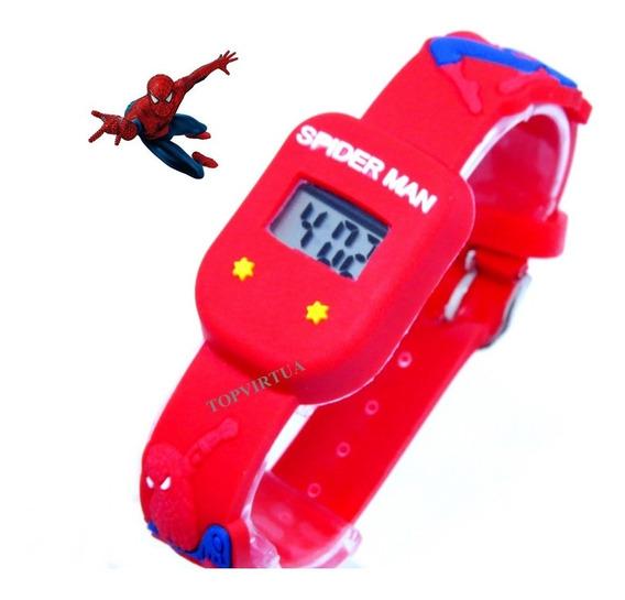 Relógio Homem Aranha Digital Quadrado Pulseira 3d Original