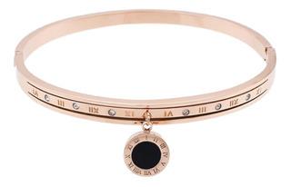 Pulseira Feminina Bracelete Modelo Tiffa Aço Pedras C278