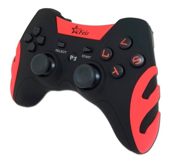 Controle Wireless Sem Fio Game Ps3 Preto Vermelho