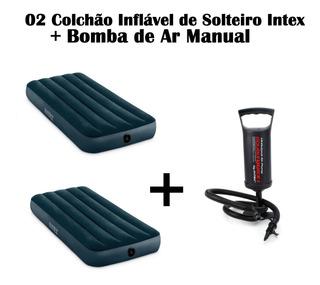 Kit 02 Colchão De Solteiro Inflável Intex + Bomba De Ar Manu