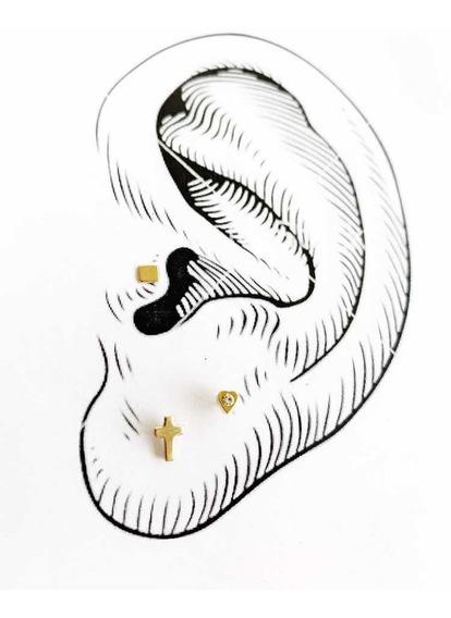 Pack De 3 Pares Piercings Chapa De Oro 22k Mod 3