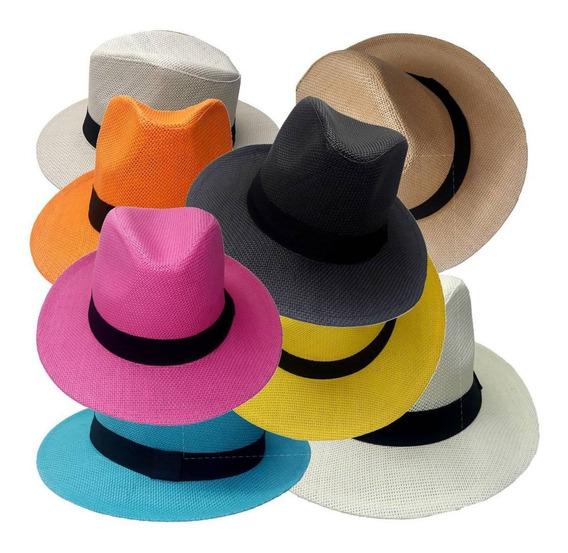 10 Chapéu Panamá Colorido Atacado Customização Escolha Cores