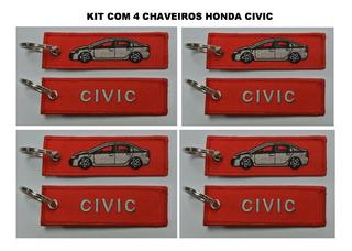 Kit Com 4 Chaveiros Honda Civic