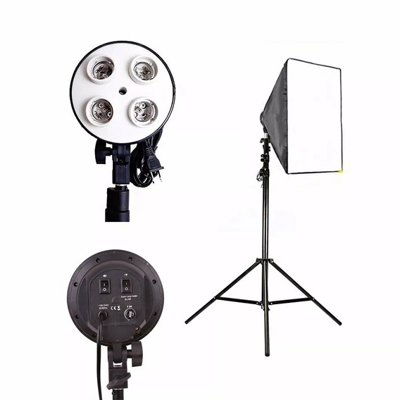 Kit Softbox Soft Box E27 Quadruplo + Tripé 2 Metros