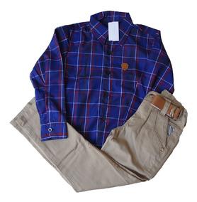 Calça Jeans Infantil Masculina Menino + Camisa Xadrez