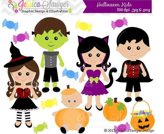 Kit Imprimible Halloween Kids Niños Disfraz 7 Imagenes Clipa