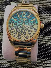 Relógio Euro Animal Print Azul - Produto Novo!