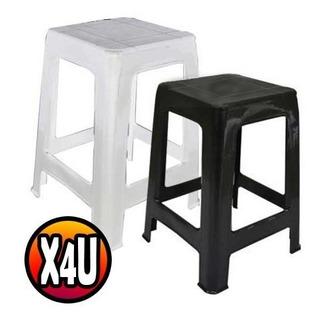 Banqueta X4 Plastico Reforzada Apilable Negro Blanco