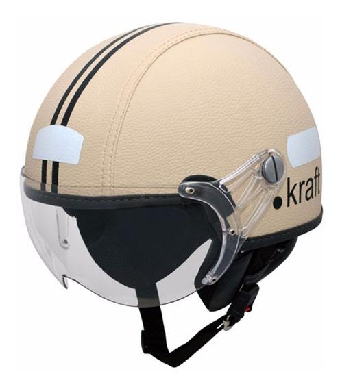 Capacete Kraft Couro Bege Custom Harley Scooter Drag