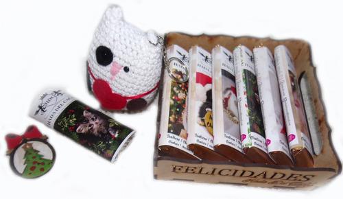 Imagen 1 de 6 de Pack Regalo Navidad Chocolates Gatos (choco Gato) + Bandeja+