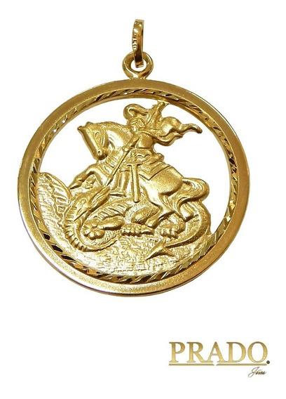 Pingente Medalha São Jorge Grande Em Ouro 18k