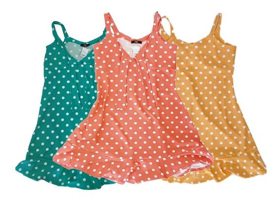 Kit 3 Vestidos Curtos Feminino Bolinha Moda Verão 2020
