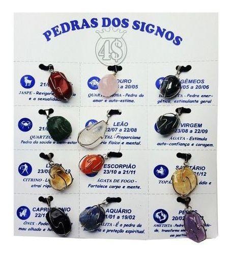 12 Colar Pedra Do Signo Cordão Zodíaco Duzia Colares Lindos!