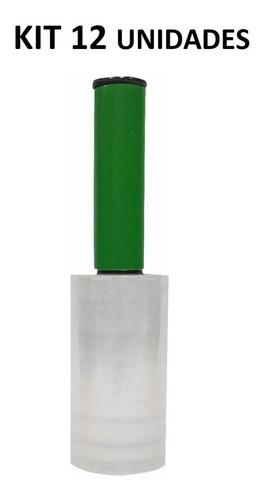 12x Rolo Filme Plastico Stretch 10cmx120m C/ Cabo Aplicador