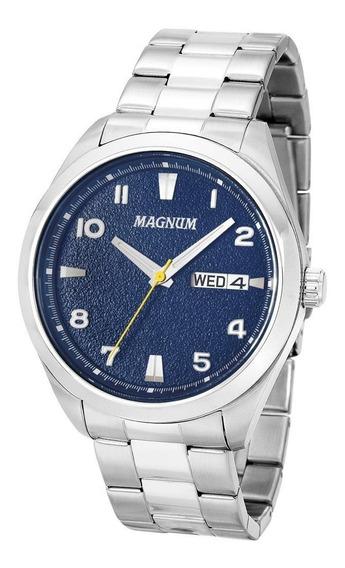 Relógio Masculino Em Aço Prata Fundo Azul Ma34923f