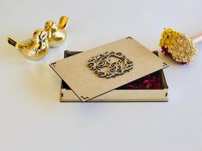 20 Caixas Mdf Convite De Casamento Monograma Brasão Iniciais