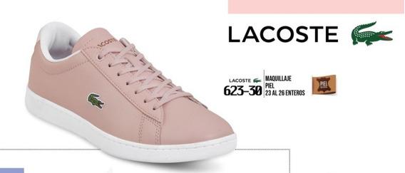 Tenis P/dama Lacoste Original Rosa Piel Casual